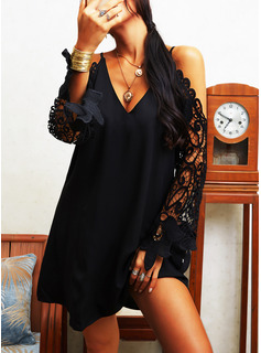 Lace Solid Shift Cold Shoulder Sleeve Long Sleeves Mini Little Black Casual Elegant Tunic Dresses