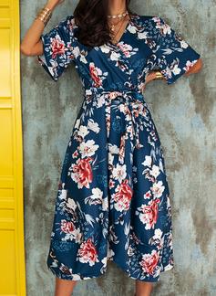 Floral Print A-line Flare Sleeve Short Sleeves Asymmetrical Casual Elegant Skater Wrap Dresses