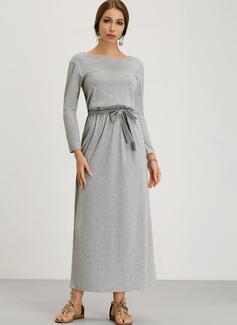 Solid Sheath Long Sleeves Maxi Casual Dresses