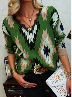 V-Neck Casual Lace Print Sweaters