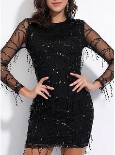 Paljetter Åtsittande Långa ärmar Mini Den lilla svarta Party Elegant Modeklänningar