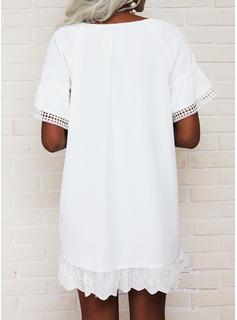 Sólido Vestidos sueltos Manga Corta Mini Casual Túnica Vestidos de moda