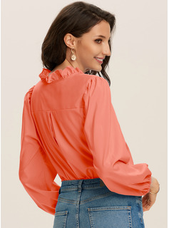 Solid V-Neck Long Sleeves Puff Sleeves Casual Ruffle Blouses