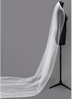 One-tier Beaded Edge Chapel Bridal Veils With Beading