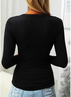 Solido Girocollo Maniche lunghe Basico Casuale Camicie
