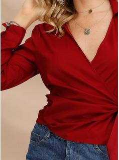 Jednolity Długie rękawy Poliester Lapel Koszula Bluzki Bluzki