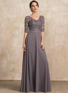 A-Linie V-Ausschnitt Bodenlang Chiffon Abendkleid mit Perlstickerei Pailletten