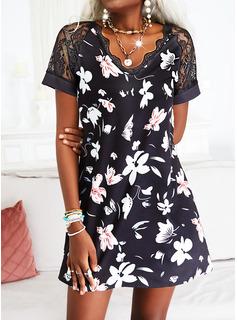 Floral Encaje Impresión Cubierta Manga Corta Mini Casual Vacaciones Vestidos de moda