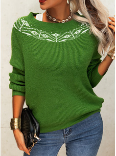 Round Neck Casual Floral Print Sweaters