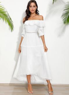 Medium Off-shoulder Polyester Solid 1/2 Ærmer Mode kjoler