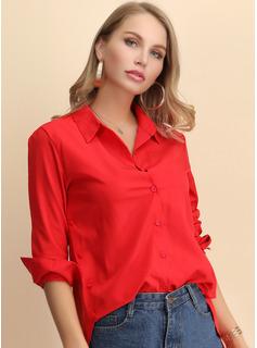 Solid Lapel Lange ærmer Button-up Casual Shirt Skjorter
