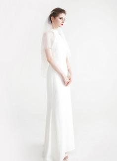 2 couches Bord de coupe Voile de mariée longueur coude avec De faux pearl