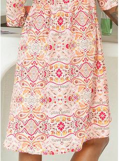 Above Knee V neck Polyester Print 1/2 Sleeves Fashion Dresses