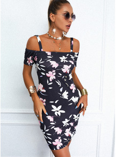Floral Print Sheath Short Sleeves Mini Casual Dresses