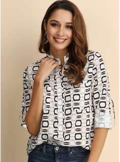 Print Long Sleeves Cotton Blends Polyester V Neck Shirt Blouses Blouses