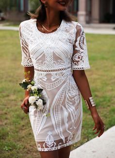 Blonder Solid Skede 1/2 ærmer Mini Casual Elegant Mode kjoler