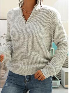 Decolteu în V gündelik Solid Bucată tricotată Striat Kazak