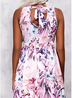 Floral Impresión Vestido línea A Sin mangas Maxi Casual Patinador Vestidos de moda