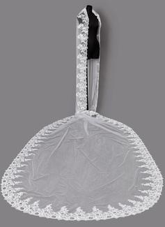 1 couche Bord en dentelle Voiles de mariée chappelle avec Dentelle
