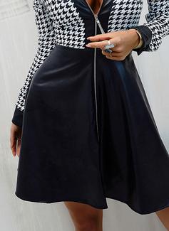 Druck A-Linien-Kleid Lange Ärmel Mini Elegant Skater Modekleider
