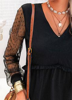 Solid Skiftekjoler Lange ærmer Midi Den lille sorte Casual Tunika Mode kjoler