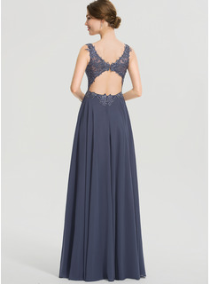 A-Line V-neck Floor-Length Chiffon Prom Dresses With Beading Split Front