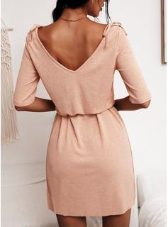 Solid Skede 1/2 ærmer Mini Casual Mode kjoler