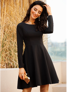 A-Linien-Kleid Lange Ärmel Midi Kleine Schwarze Party Sexy Modekleider