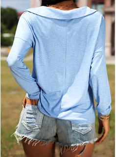 Solido Risvolto Maniche lunghe Casuale Shirt and Blouses