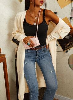 カジュアル 長い 固体 ポケット セーター