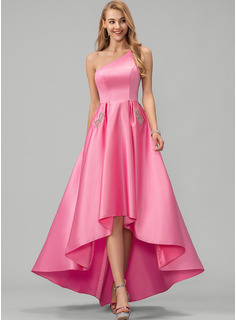 A-Line One-Shoulder Asymmetrical Satin Prom Dresses With Beading Pockets