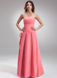 A-Line/Princess Strapless Floor-Length Chiffon Bridesmaid Dress With Ruffle Flower(s)