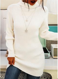 タートルネック 長い 固体 リブ編みの セーター