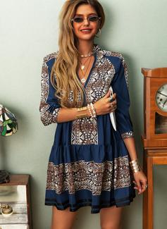 Print Skiftekjoler 3/4 ærmer Mini Casual Tunika Mode kjoler