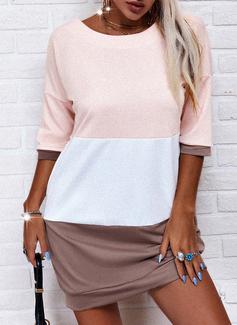 Trozos de color Vestidos sueltos Mangas 1/2 Mini Casual camiseta Vestidos de moda