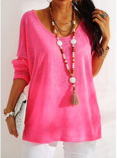 Solid Round Neck Long Sleeves Basic Casual T-shirt