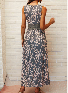 Blumen Druck A-Linien-Kleid Ärmellos Maxi Lässige Kleidung Urlaub Skater Modekleider