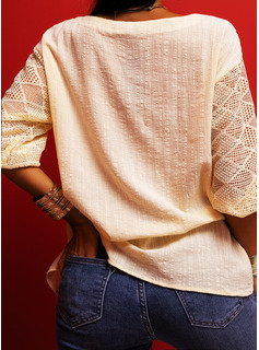 Lace Print V-Neck 3/4 Sleeves Casual