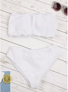 Bikinis Poliester Spandex Jednolity kolor brandeau Dla kobiet tak Stroje kąpielowe