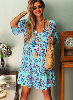 Floral Print Shift 1/2 Sleeves Midi Boho Casual Vacation Tunic Dresses