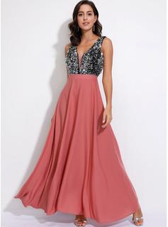 Maksimum V-hals Polyester pailletter/Farve-blok Uden Ærmer Mode kjoler