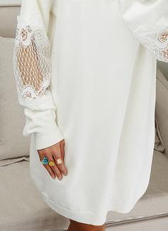Encaje Sólido Manga Larga Casual Largo Vestido de Suéter Vestidos de moda