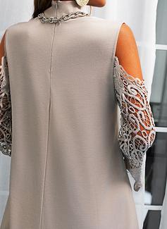 Spets Solid Shiftklänningar Långa ärmar Mini Fritids Modeklänningar