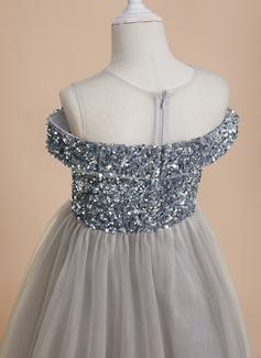 A-Line Scoop Neck Floor-length Tulle/Sequined Sleeveless Flower Girl Dress