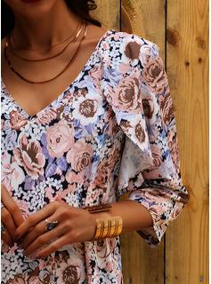Blommig Print Shiftklänningar Långa ärmar Mini Fritids Semester Modeklänningar