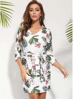 フローラル 印刷 ボディコンドレス 半袖 ミニ カジュアル エレガント ファッションドレス