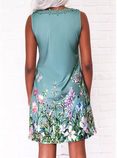 Estampado de animales Floral Impresión Vestidos sueltos Sin mangas Midi Casual Vacaciones Vestidos de moda