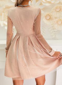 Print Paljetter A-linjeklänning Långa ärmar Mini Party Elegant skater Modeklänningar