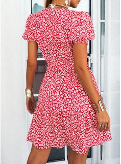 Impresión Vestido línea A Manga Corta Mini Casual Patinador Bolero Vestidos de moda