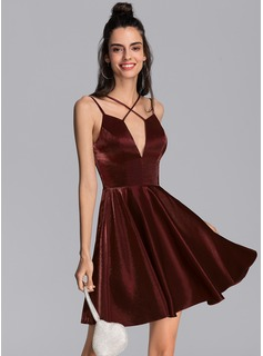 A-Line V-neck Short/Mini Jersey Homecoming Dress